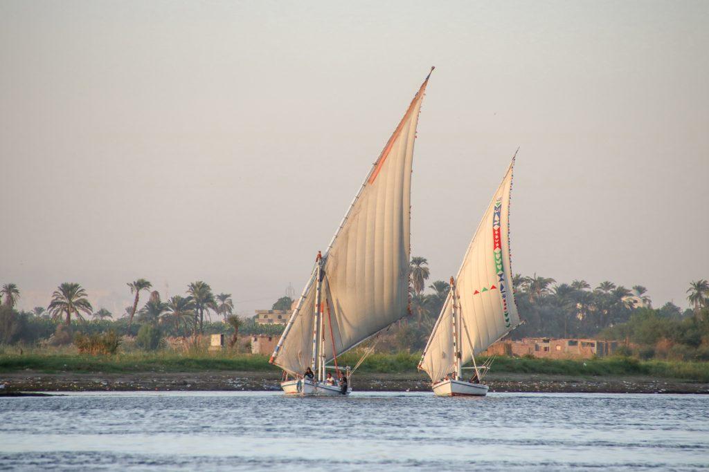felucca's op de Nijl bij Luxor