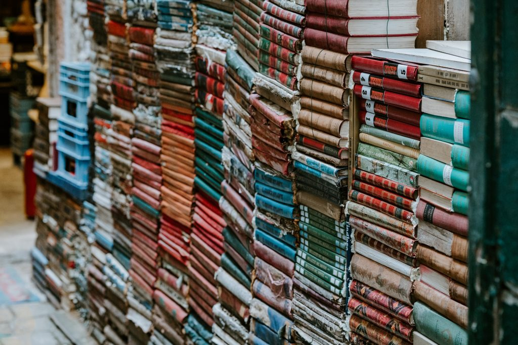 Photo of books stacked up